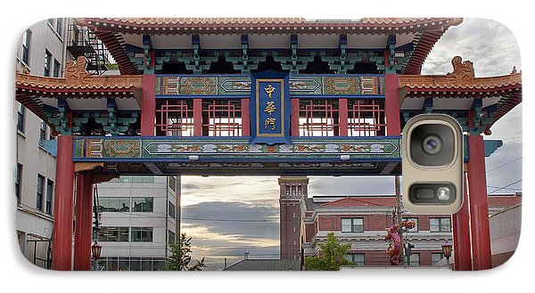 Galaxy Case featuring the photograph Sunset At Chinatown Gate In Seattle Washington by JPLDesigns