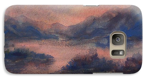 Galaxy Case featuring the painting Sunset At Lake Champlain by Joy Nichols