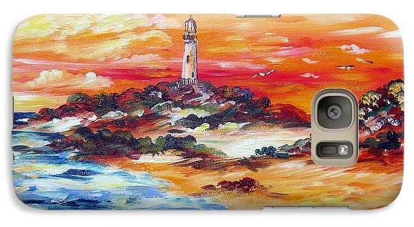 Galaxy Case featuring the painting Sunset At Rottnest  Island Lighthouse by Roberto Gagliardi