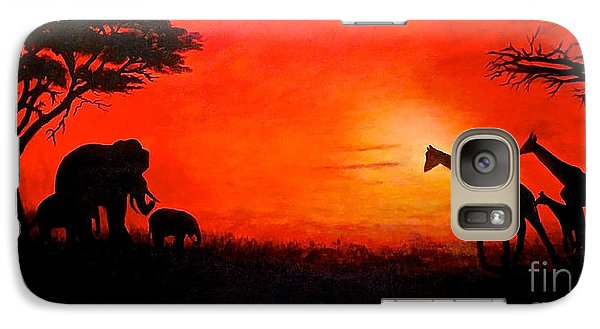 Galaxy Case featuring the painting Sunset At Serengeti by Sher Nasser