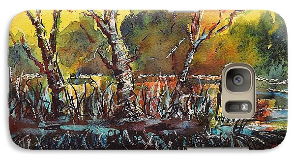 Galaxy Case featuring the painting Sunset At The Lake by Kathleen Pio