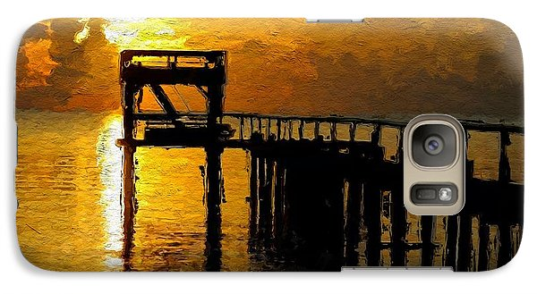 Galaxy Case featuring the painting Sunset By The Jetty by Wayne Pascall