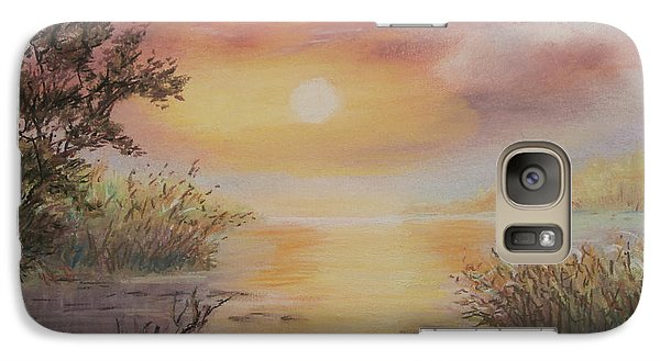Galaxy Case featuring the painting Sunset By The Lake by  Luczay