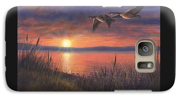 Galaxy Case featuring the painting Sunset Flight by Kim Lockman