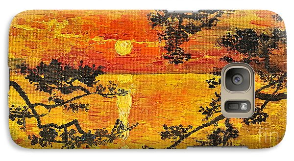 Galaxy Case featuring the painting Sunset For My Parents by Teresa Wegrzyn