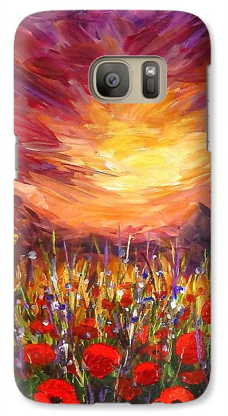 Galaxy Case featuring the painting Sunset In Poppy Valley  by Lilia D