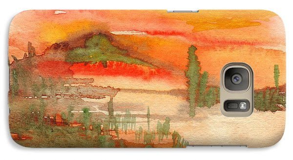Galaxy Case featuring the painting Sunset In Saguaro Desert  by Mukta Gupta