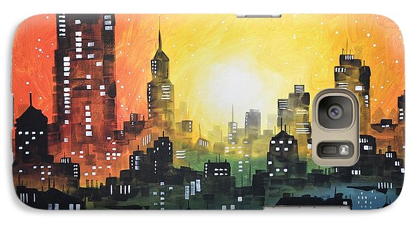 Galaxy Case featuring the painting Sunset In The City by Amy Giacomelli