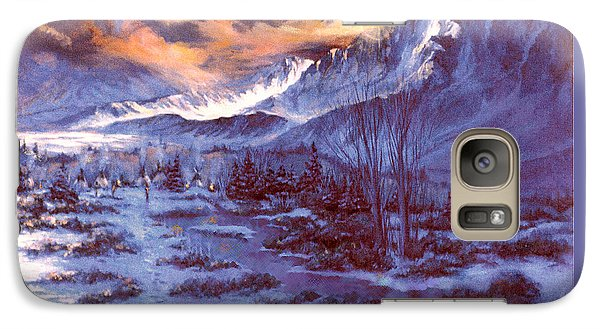 Galaxy Case featuring the painting Sunset Indian Village by Donna Tucker