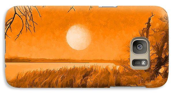 Galaxy Case featuring the digital art Calm Lake Under Full Moon - Boulder County Colorado by Joel Bruce Wallach