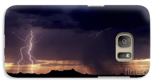 Galaxy Case featuring the photograph Sunset Lightning-signed by J L Woody Wooden