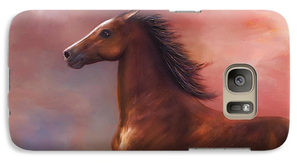 Galaxy Case featuring the digital art Sunset Mustang by Kari Nanstad