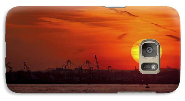 Airplanes Galaxy S7 Case - Sunset: New York Harbor by Michael Castellano