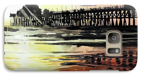 Galaxy Case featuring the painting Sunset Oceanside Pier by Tom Riggs