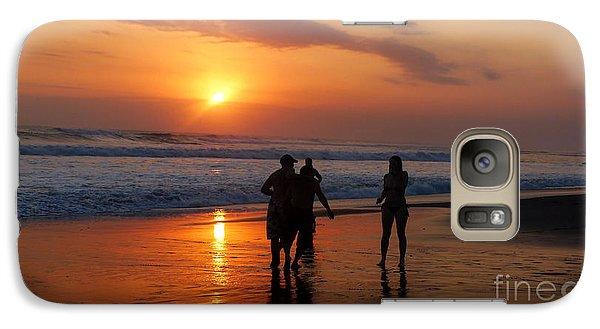 Galaxy Case featuring the photograph Sunset On Black Sand Beach Bali  by Mukta Gupta
