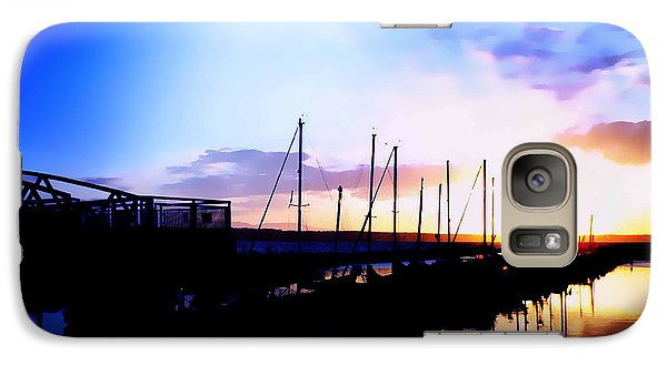 Galaxy Case featuring the photograph Sunset On Edmonds Washington Boat Marina by Eddie Eastwood
