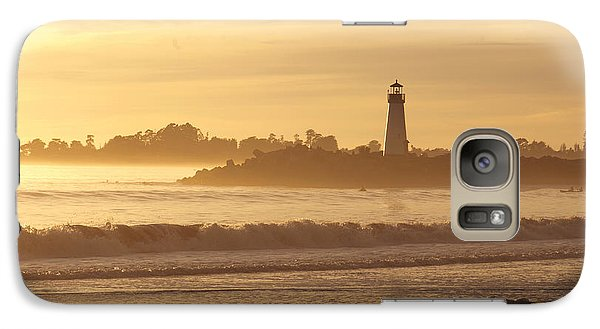 Galaxy Case featuring the photograph Sunset On The Lighthouse In Santa Cruz Harbor by Artist and Photographer Laura Wrede