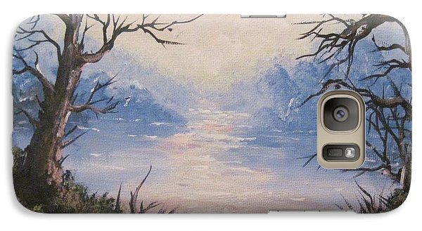 Galaxy Case featuring the painting Sunset On Water by Megan Walsh