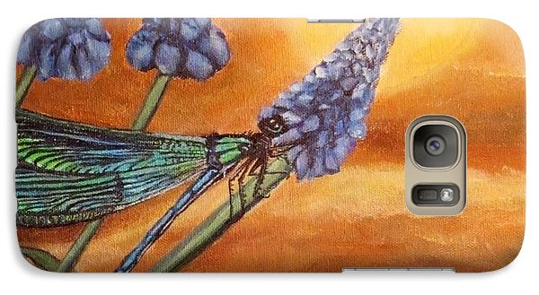 Galaxy Case featuring the painting Summer Sunset Over A Dragonfly by Kimberlee Baxter