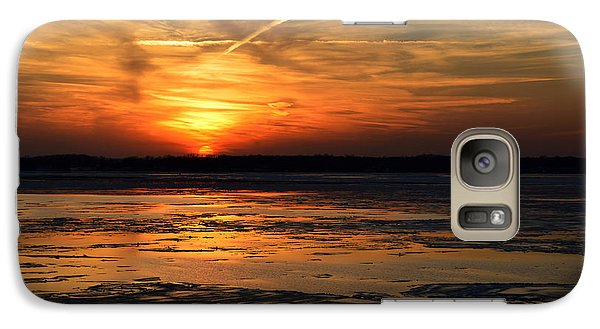 Galaxy Case featuring the photograph Sunset Over A Frozen Chesapeake Bay by Bill Swartwout