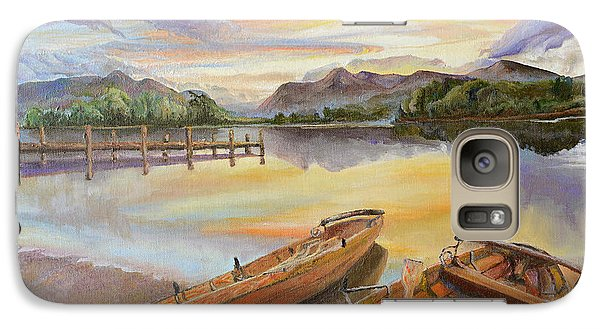 Galaxy Case featuring the painting Sunset Over Serenity Lake by Mary Ellen Anderson