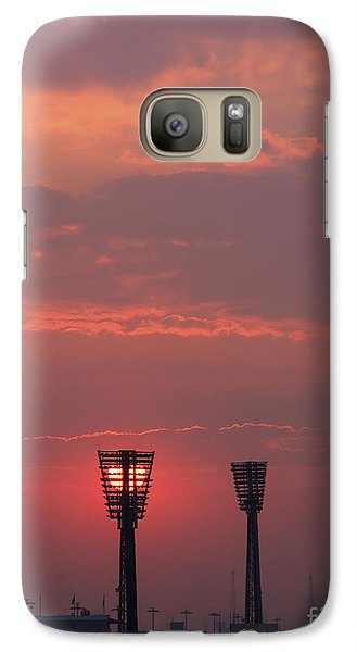 Galaxy Case featuring the photograph Sunset Over Stadium by Mohamed Elkhamisy