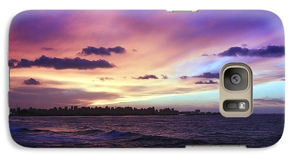 Galaxy Case featuring the photograph Sunset Over Town And Sea Water by Mohamed Elkhamisy