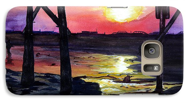 Galaxy Case featuring the painting Sunset Pier by Lil Taylor
