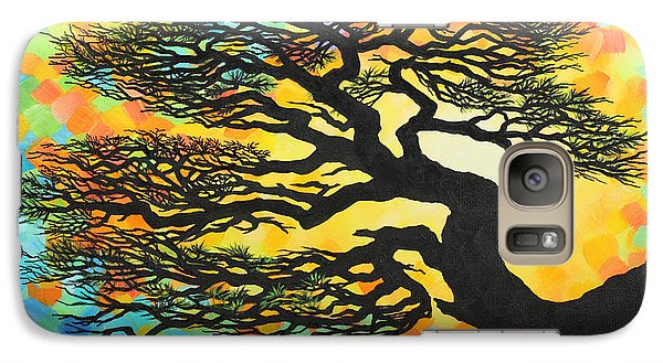 Galaxy Case featuring the painting Sunset Pine by Jane Girardot