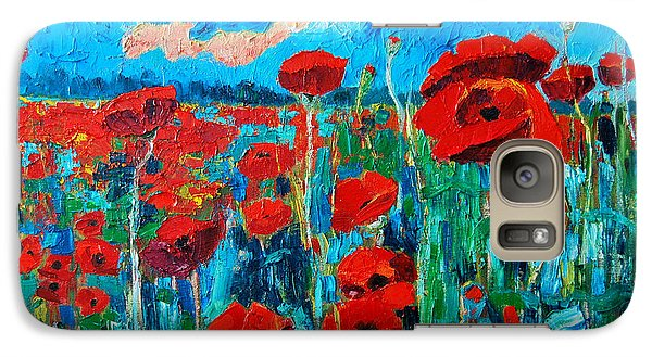 Galaxy Case featuring the painting Sunset Poppies by Ana Maria Edulescu