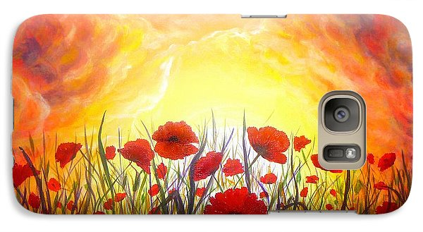 Galaxy Case featuring the painting Sunset Poppies by Lilia D