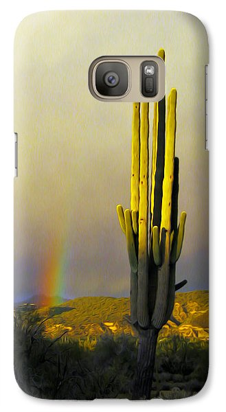 Galaxy Case featuring the photograph Sunset Rainbow Cactus by John Haldane