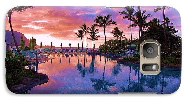 Galaxy Case featuring the photograph Sunset Reflection St Regis Pool by Michele Penner