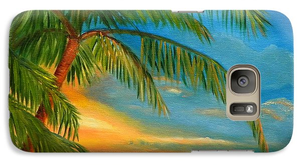 Galaxy Case featuring the painting Sunset Reflections - Key West Sunset And Palm Trees by Shelia Kempf