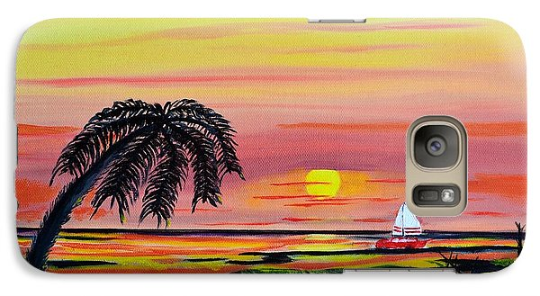 Galaxy Case featuring the painting Sailing At Sunset by Melvin Turner