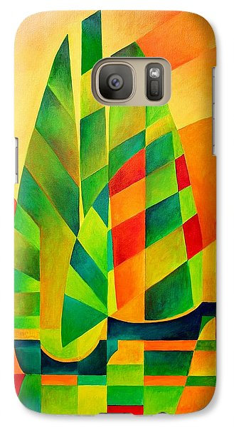 Galaxy Case featuring the painting Sunset Sails And Shadows by Tracey Harrington-Simpson