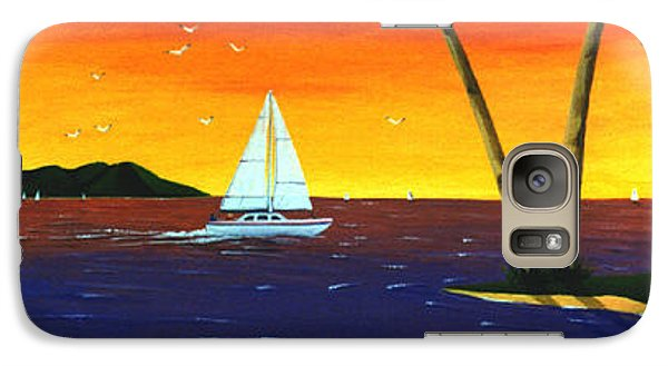 Galaxy Case featuring the painting Sunset Sails by Lance Headlee