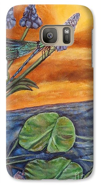 Galaxy Case featuring the painting Sunset Setting Over A Dragonfly On A Water Lily Pond by Kimberlee Baxter