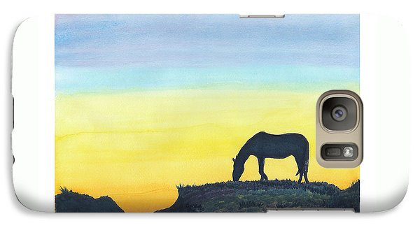 Galaxy Case featuring the painting Sunset Silhouette by C Sitton