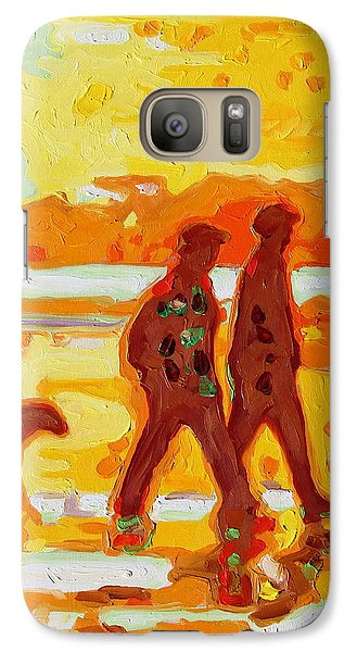 Galaxy Case featuring the painting Sunset Silhouette Carmel Beach With Dog by Thomas Bertram POOLE