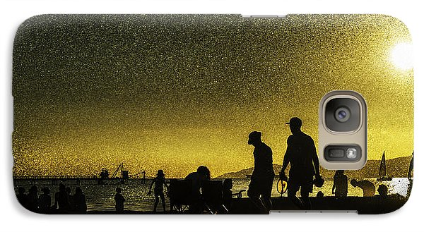 Galaxy Case featuring the photograph Sunset Silhouette Of People At The Beach by Peter v Quenter
