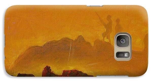Galaxy Case featuring the painting Sunset Surf Fishermen by Thomas Bertram POOLE