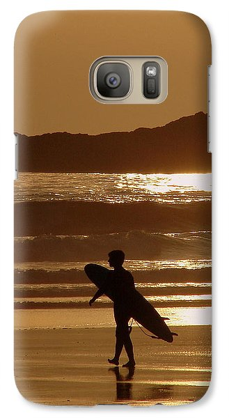 Galaxy Case featuring the photograph Sunset Surfer by Ramona Johnston