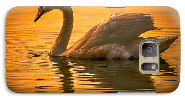 Galaxy Case featuring the photograph Sunset Swan by Brian Stevens