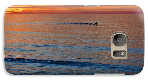 Galaxy Case featuring the photograph Sunset Swimmer by Maria Janicki