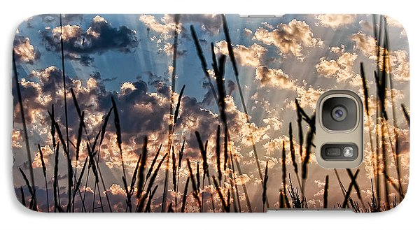 Galaxy Case featuring the photograph Sunset Through The Grasses by Don Schwartz