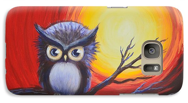 Galaxy Case featuring the painting Sunset Vortex With Owl by Agata Lindquist