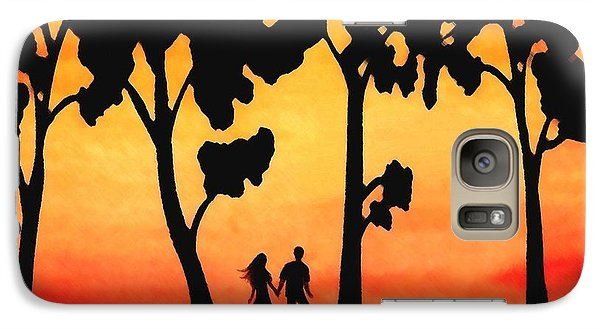 Galaxy Case featuring the painting Sunset Walk by Sophia Schmierer
