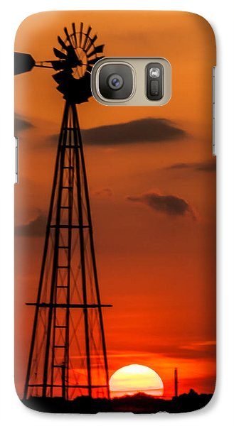 Galaxy Case featuring the photograph Sunset Windmill by Jay Stockhaus