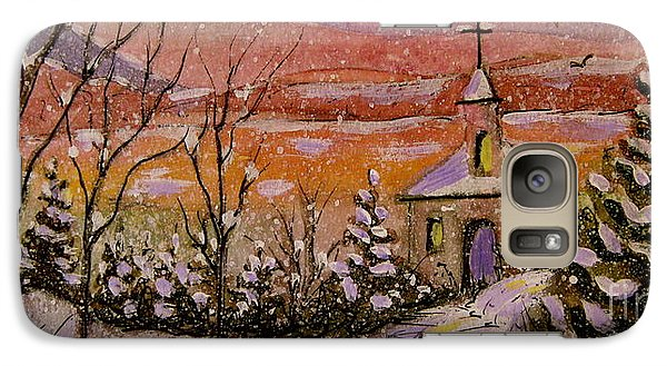 Galaxy Case featuring the painting Sunset Winter Church by Gretchen Allen